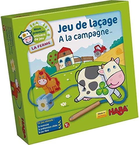 HABA 5895 - Mein erstes Spiel-Universum - Die Bauernhof - HABA auf dem Bauernhof mit 10 Holzschnürfiguren und 4 Modellen (Made in Germany)