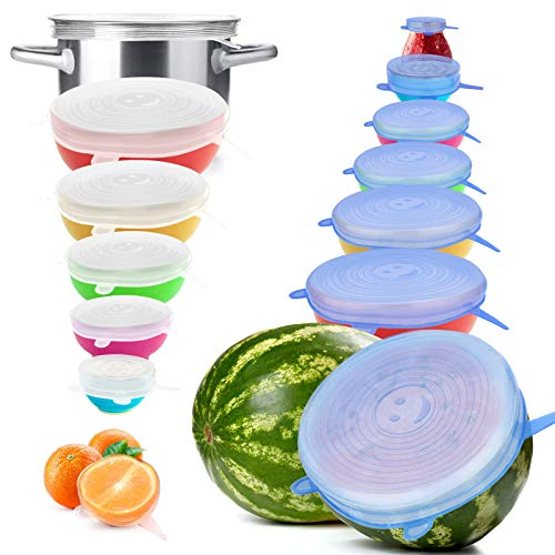 Reusable Silicone Stretch Lids, 14PCS Premium Stretch Silicone Lids for Food Storage, Flexible Round Silicone Bowl Covers, 7 Different Sizes Reusable Stretch and Seal Lids - Keep Food Fresh, by YXYL