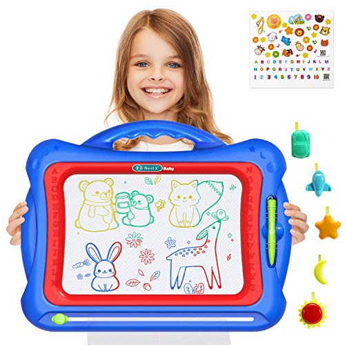 Geekper Magnetic Drawing Board, Large 16 inch Magna Doodle Writing Painting Sketching Pad with 5 Adorable Stamps & Lovely Sticker for 2, 3, 4, 5, 6 Years Old Boys and Girls Gifts (Blue)