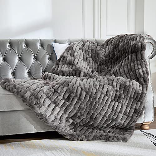 Mantas y Mantas de Piel sintética de 127 x 165 cm, Manta Suave y acogedora, Manta cálida, Gruesa y esponjosa para Cama, sofá, sofá, Mantas de Lujo, Manta de Felpa cómoda, Manta para el frío Invierno