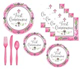 First Communion Party Supplies Girl Pink Theme With Bright Pink Accents Serves 18 Guests And Includes Extra Large Dinner or Luncheon Plates, Dessert Plates, Napkins And Premium Quality Plasticware