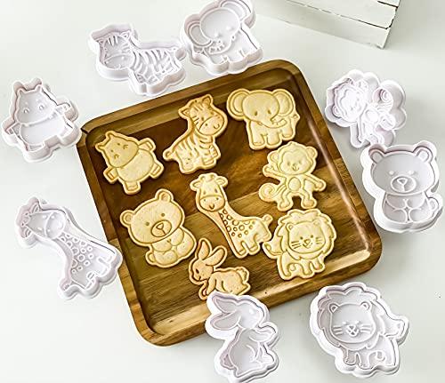 GS 8 Pack Ausstechformen, Cookie Backen Form, 3D-DIY Cookie Cutter, Handpresse Keksstempel,Keksausstecher Osterausstecher Plätzchenform, Tiere Ausstecher Set