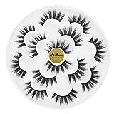 7 Pairs 6D Mink False Eyelashes Faux Long Wispy Natural Eyelashes Fluffy Thick Eyelashes Handmade Reusable Natural Eyelashes Pack Makeup Lashes