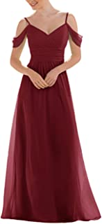 Jonlyc Women's V Neck Cold-Shoulder Chiffon Bridesmaid Dress Prom Formal Evening Gowns