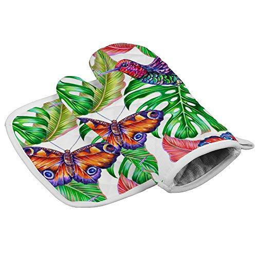 Tropische Dschungelblätter, Kolibri, Blumenmuster Sommer bunte Schmetterling Ofenhandschuhe und Topflappen, dick, hitzebeständig, flexibel, rutschfeste Handschuhe zum Kochen, Backen, personalisierbar