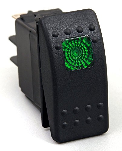 Amarine Made 12v 20 Amp Waterproof LED On/Off Boat Marine SPST 3P Rocker Switch with Light (Green)