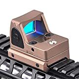 AKFIRE Metal RMR Red Dot Sight Scope Collimator Reflex Sight Scope Fit 20mm Rail for Outdoors Hunting Holographic Sight (Tan)