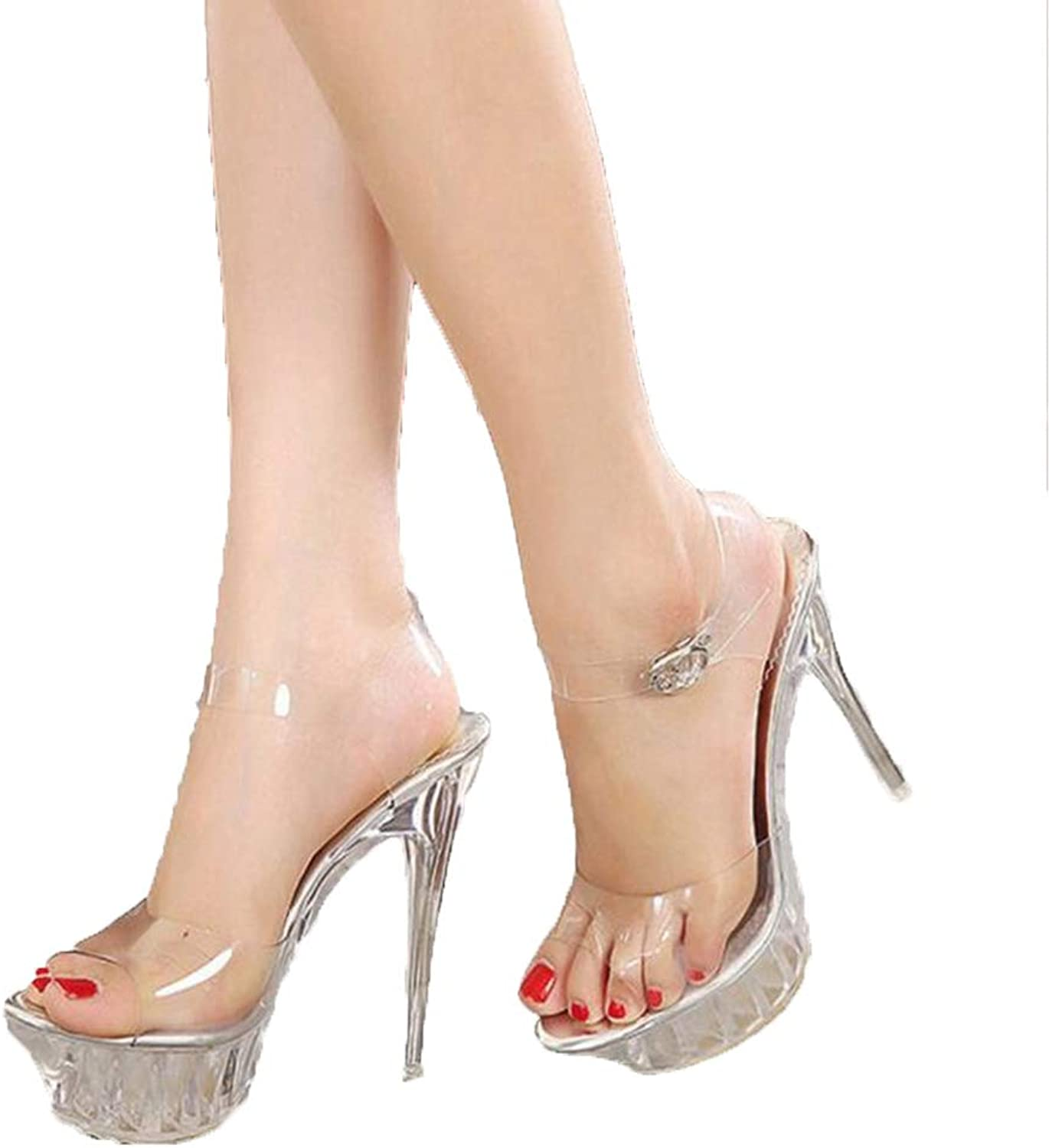 Pophight New Lady Crystal high Heels Star high Waterproof Platform Transparent Sandals Sexy Wedding shoes Big Size 35-43 9wedding Sandals