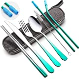 Travel Utensils Set with Case Reusable Portable Cutlery Set Stainless Steel 8pcs Including Dinner Knife Fork Spoon Chopsticks straws(Gradient Green)