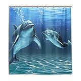 MyDaily Happy Delphins Duschvorhang 167,6 x 182,9 cm, schimmelresistent und wasserdicht Polyester Dekoration Badezimmer Vorhang