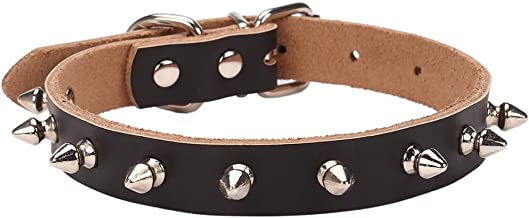 AOLOVE Basic Classic Adjustable Genuine Cow Leather Pet Collars for Cats Puppy Dogs