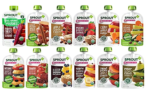 Sprout Organic Baby Food, Stage 2 Pouches, 12 Flavor Fruit Veggie & Grain Variety Sampler, 3.5 Oz Purees (Pack of 12) - Flavors may vary
