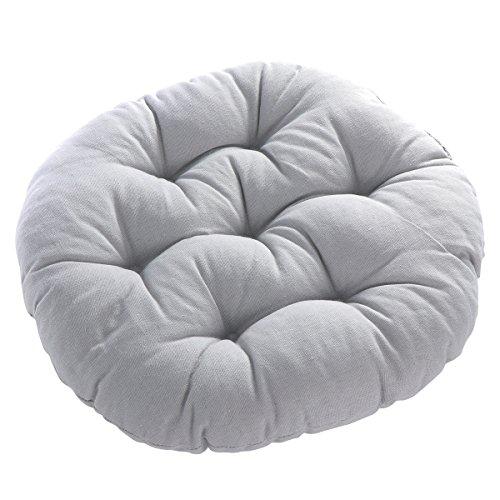 WINOMO - Cojín redondo de algodón y lino, cojín para asiento de yoga, ventana, tatami, para casa, oficina, color gris
