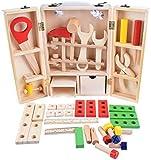 Aoyo Combinación de Madera DIY portátil Simulación Caja de Herramientas Set Pretend reparación Kit de Herramientas de Juguete for niños Educación Desmontaje