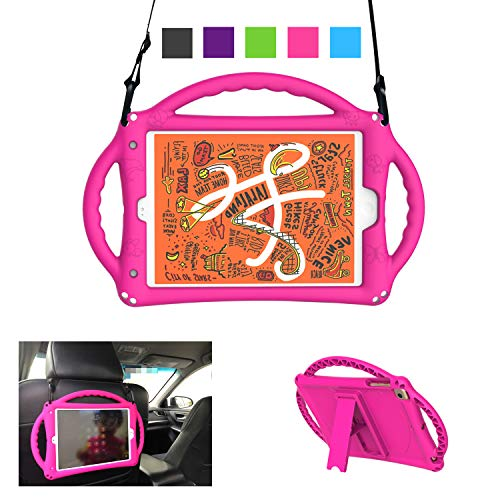 A ADENK Kids Premium Food-Grade Silicone Case for 7.9' iPad Mini 1/2/3/4/5 Generation - Shockproof Built-in Handle Stand Kids Case with Shoulder Strap - Retina Display (Magenta/Rose)