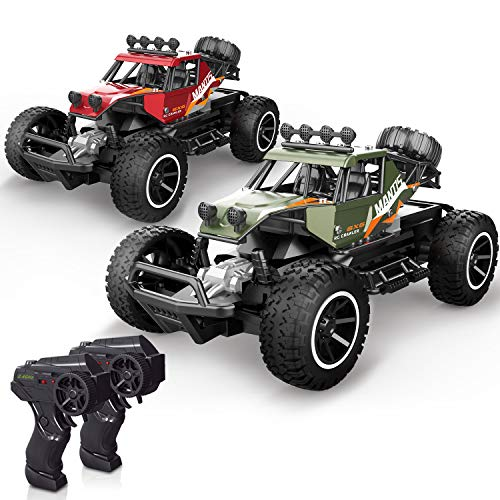 X TOYZ RC Cars Remote Control Cars 2 PCS Off Road Monster Trucks for Kids, 1:20 Scale Metal Shell Alloy RC Car High Speed Racing Car 2.4Ghz Hobby Vehicles Toys Gifts 4 Rechargeable Batteries