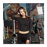 MISLD Yoga-Kleidung Zurück Reißverschluss-Sport-Langarm-Female Fingertips Breath Exposed Navel Fitness, Schwarz, M