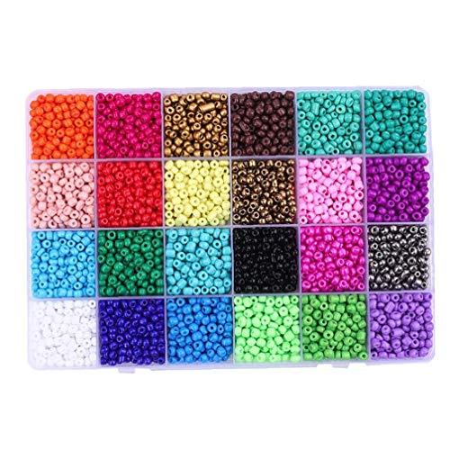 lulongyansf Glas Pony Seed 2 mm Korn-Kits 24 Mischfarben-Sortiment für DIY Dekoration Handgemachter Schmuck Armband Halskette 6000PCSCraft Kollektion