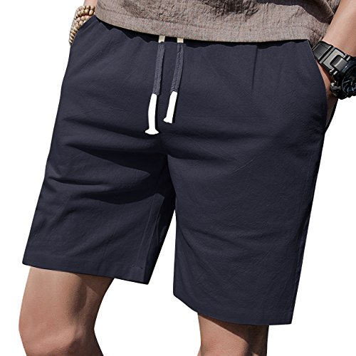 LTIFONE Mens Casual Shorts Elastic Waist 7' Inseam with Drawstring Slim Fit Summer Pants with Pockets(Blue,L)