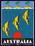 BIT Yulala Australien Tropische Insel Fisch Reise Retro Blechschilder Metall Vintage Schilder Auto Motorrad Benzin Garage Zuhause Wanddekoration Metallschilder 30,5 x 20,3 cm