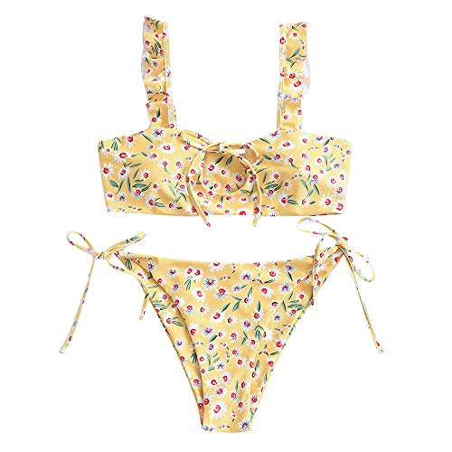 ZAFUL Damen Bandeau Floral Ausgeschnitten Bikini Set Swimsuit Gelb S