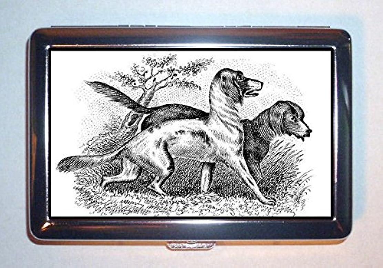 アルミニウムイデオロギー国民Victorian狩猟犬Greatアンティークグラフィック:ステンレススチールIDまたはCigarettesケース( Kingサイズまたは100?mm )