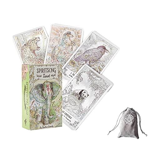 Spiritsong Tarot Oracle Tarjetas con Bolsa De Terciopelo,Spiritsong Tarot Oracle Cards