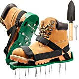 HEYPORK Lawn Aerator Shoes, Comfortable Lawn Aerating Sandal with with Hook & Loop Straps Dual Straps, Nonslip Metal Buckles, Stainless Steel Shovel - Soil Conditioner Spike Shoes for Garden Aeration