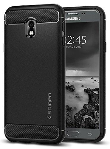 Spigen 580CS21499 Rugged Armor für Samsung Galaxy J3 (2017) Duos Hülle Karbon Erscheinungsbild Silikon Schutzhülle Hülle - Schwarz