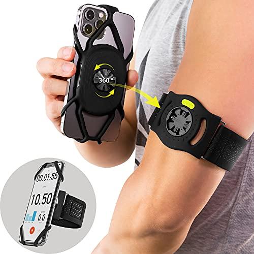 Bone Run-Tie-Connect Kit, 360° Drehbar Abnehmbar Handyhalterung zum Joggen, Sportarmband für Handy 4,7-7,2 Zoll, Handytasche Arm für Smartphone iPhone Samsung (Handyhalter & Ersatzarmbänder Inklusiv)