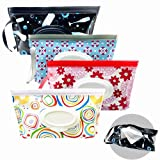 VOONGOR Portable Refillable Wet Wipe Pouch, Reusable Travel Wipes Holder & Case, Lightweight Flushable Diaper Wipes Container for Baby (4 Pack)