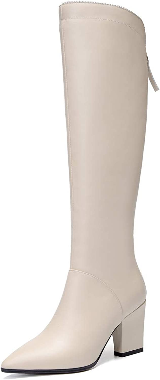 Nine Seven Women's Genuine Leather Pointed Toe Chunky Heel Handmade Glossy Comfortable Dress Knee High Boots