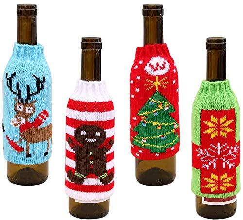 Lot de 4 housses en tricot pour bouteille de vin - Motif sapin de Noël, flocon de neige, élan - Pour Noël, fête, décoration, cadeaux, décoration de Noël