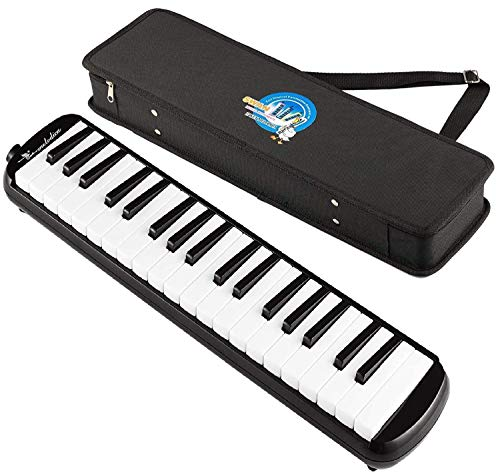 SWAN 37 Keys Piano Molodica Musical Instrument with Carrying Case,Black (SW37J)