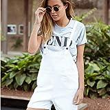 JJLESUN2Mono Informal Street Girls Overol Monos de Mujer Short Summer Streetwear Jeans Blancos Monos con Bolsillos