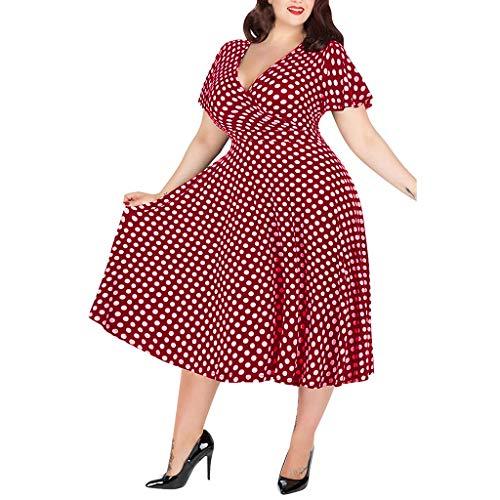 LOPILY 50er Jahre Kleid Große Größen Gepunktes Wickelkleid Sexy V-Ausschnitt Vintage Retro Kleid Rockabilly Kleid mit Punkte Muster Midikleid Übergrößen für Hochzeit Gast (Rot, DE-40/CN-L)