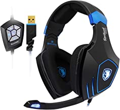SADES PC Gaming Headset SPELLOND PRO Noise Cancelling Microphone Headphones with Bass Vibration Audio Power by BONGIOVI Acoustics DPS Technology Headsets with RGB Light for Windows Computer Laptop