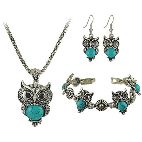 Mujers Pendientes,Xinan Un Conjunto de Pulsera Retro del Búho +Collar +Pendientes (Azul)