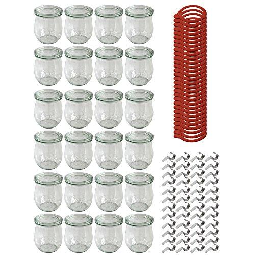 24 Weck Gläser 220 ml Tulpengläser Einmachgläser Sturzgläser Weckgläser / inkl Einkochringe Klammern Glasdeckel