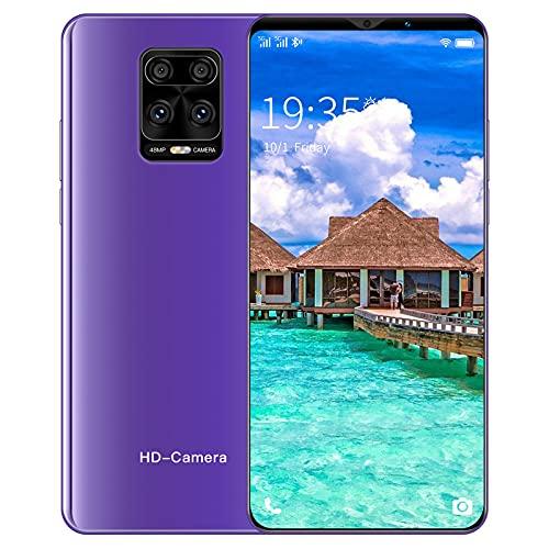 PENNY73 Note 9 Pro Teléfono de Pantalla Completa Desbloqueado Smartphone 128GB 8GB Teléfonos Móviles Teléfonos Móviles 5G Android 10 Teléfono 5.5 Pulgadas HD,Purple