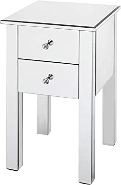 NUFR Home Mirrored Tall 2 Drawer Bedroom Accent Storage Chest Cabinet Silver