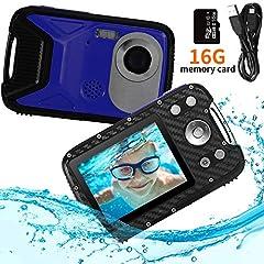 """Pellor Kids Aparat cyfrowy, 2,8""""LCD HD Akumulator Mini Aparat dla dzieci Aparat dla dzieci Wodoodporny toy sport kamery camcorder z 16GB MicroSD do wewnątrz zewnątrz"""