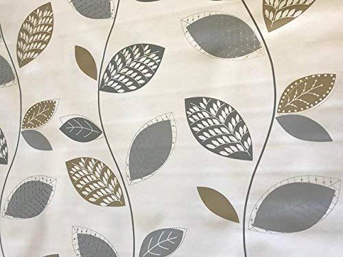 Linen702 Vinyle Nappe en PVC Argenté/gris et feuille d'or sur blanc 3 metres (300 x 137 cm) 10 places rectangulaire Taille Table, facile à nettoyer, Envers textile Plastique Nappe (270)