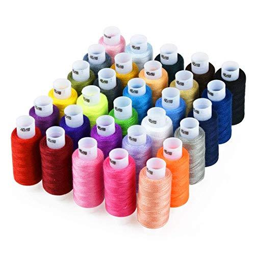 Candora Surtido de hilos de costura de 30 colores 250 yardas cada kit de costura de hilo de poliéster multiusos, 30pc