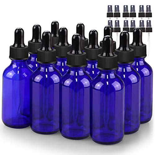 Glass Bottle Set, BonyTek 12 x 2oz Glass Spray Bottle, Blue Glass Eye Droppers Bottles for Watering Flowers Aromatherapy Cleaning and Window Disinfection Dilution Bottles