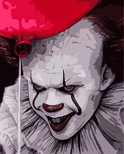 Zhonchng DIY Olie Verf door Nummer Kit,Schilderij Schilderijen Enge Clown Tekening met Borstels 16 * 20 Inch Kerst Decor Decoraties Geschenken Met frame