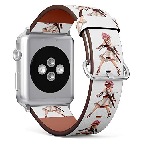 (Japanese Anime Samukai Girl) Patterned Leather Wristband Strap for Apple Watch Series 4/3/2/1 gen,Replacement for iWatch 38mm / 40mm Bands