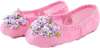 Girls Women Flower Ballet Shoes Canvas Ballet Slipper Yoga Dance Shoe Ballet Flats