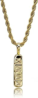 """14K Gold and Silver Plated Xanax Pill Bar Pendant Necklace for Men with 24"""" Stainless Steel Rope Chain"""