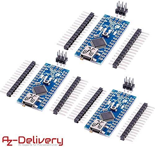 AZDelivery 3 x Nano V3.0 mit FTDI Chip und ATmega328 mit gratis eBook! 100% Arduino Nano V3 kompatibel
